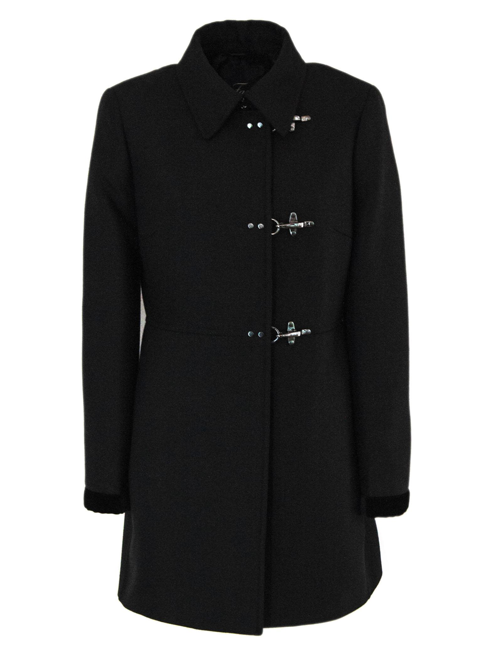 Fay Coat In Black Virgin Wool Mix.