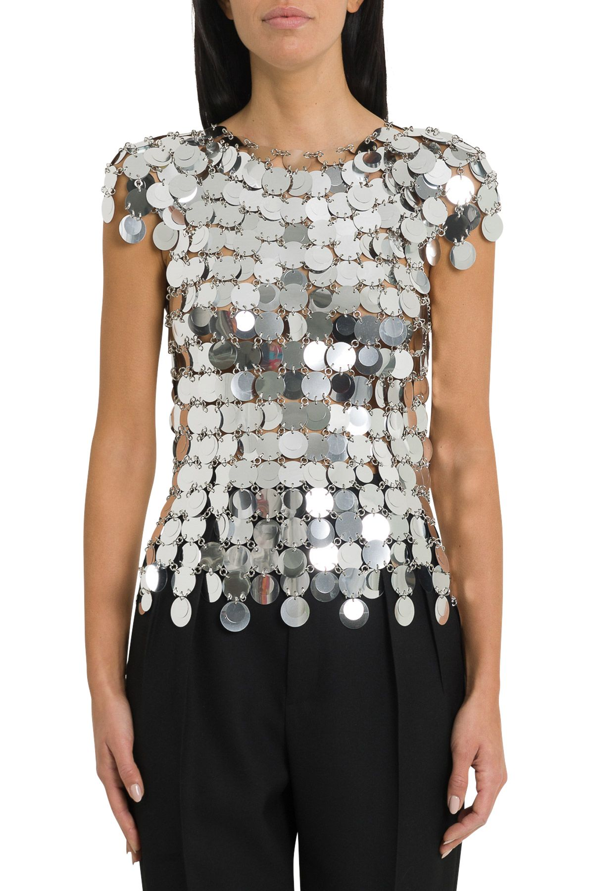 Paco Rabanne Tops SILVER SEQUINS TOP