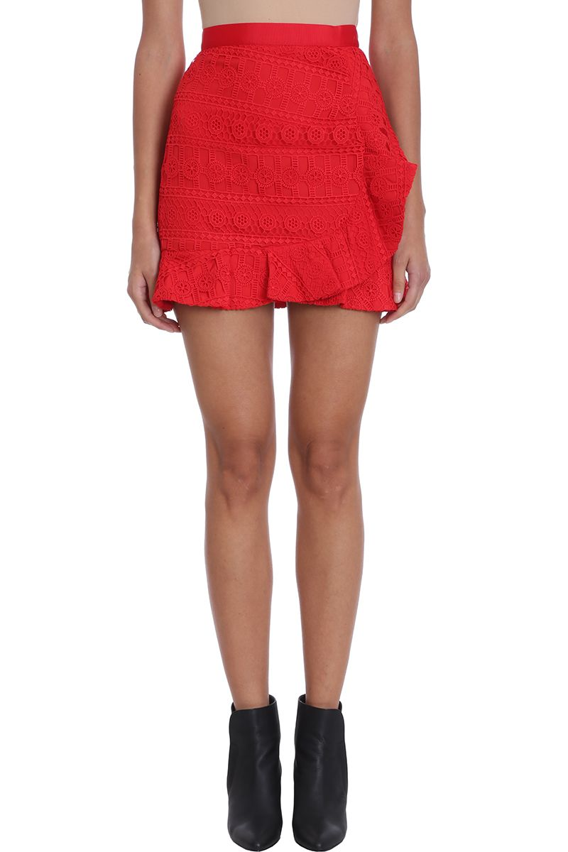 self-portrait Red Lace Ruffles Skirt