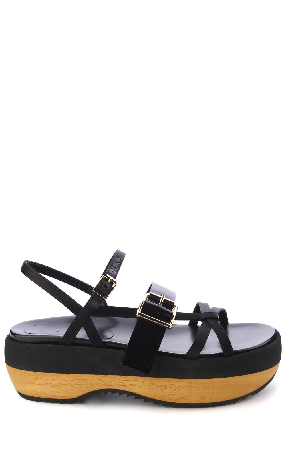 Marni Satin And Patent-leather Platform Sandals