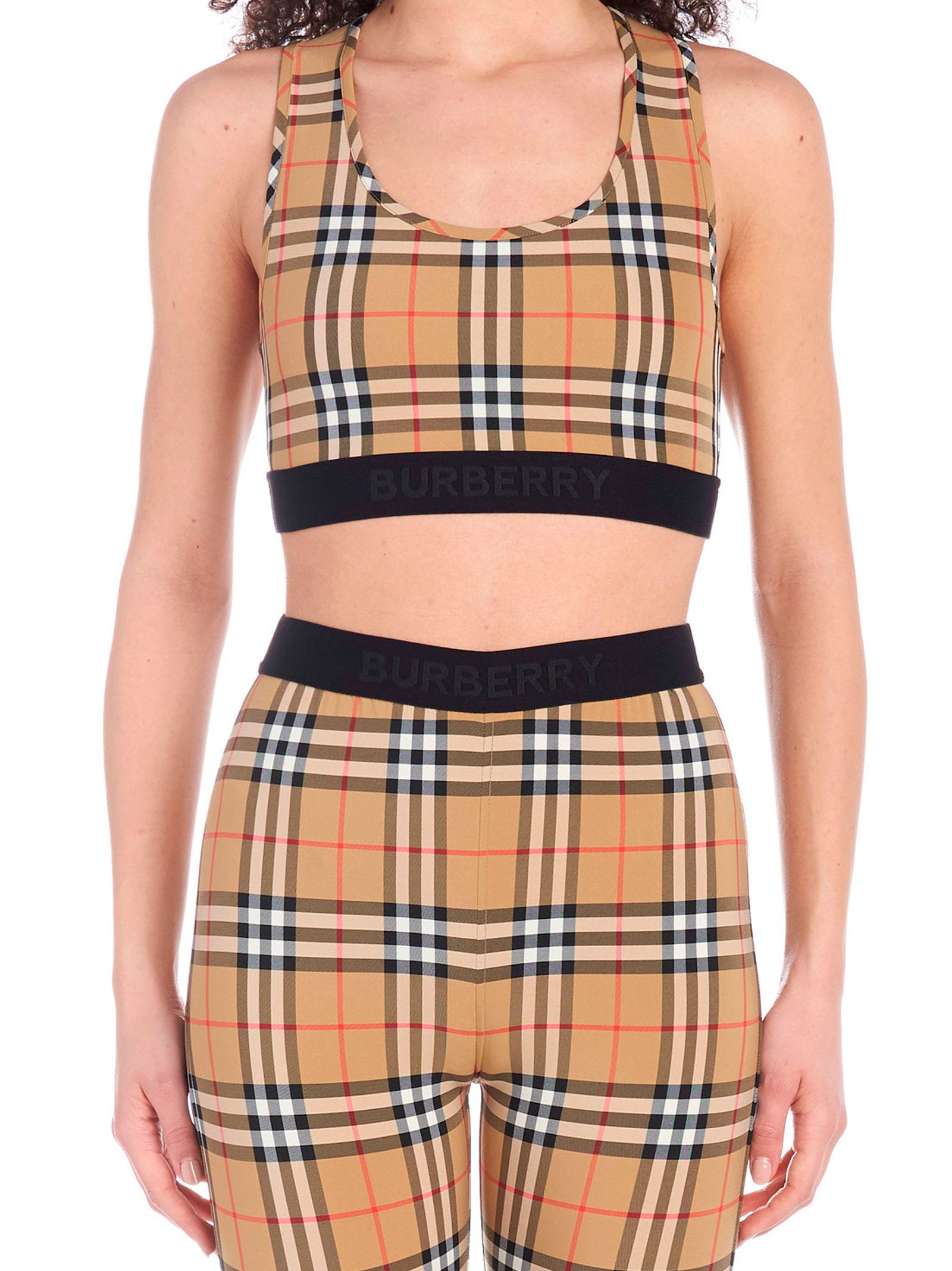 67192a7d403334 Burberry Logo Detail Vintage Check Bra Top In Brown