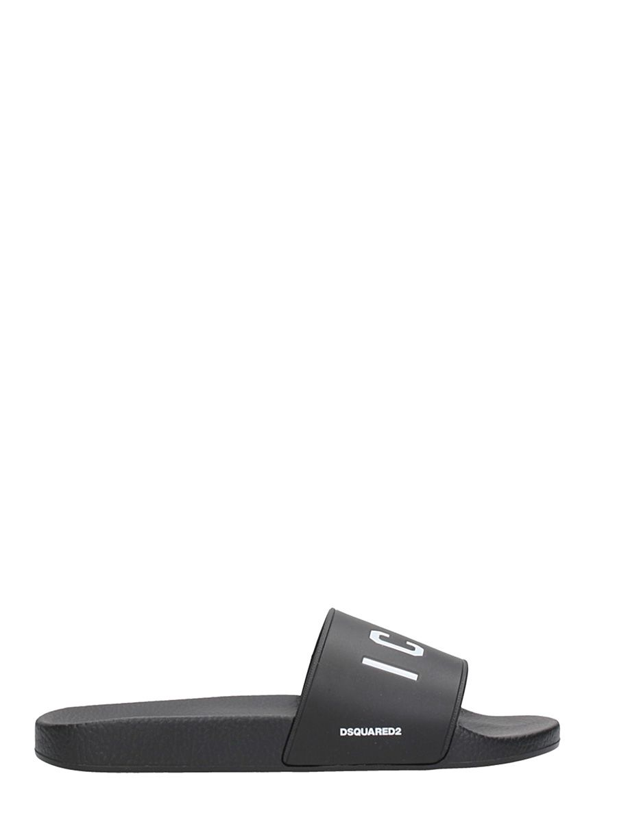 Dsquared2 Icon Black Rubber Flats Sandals