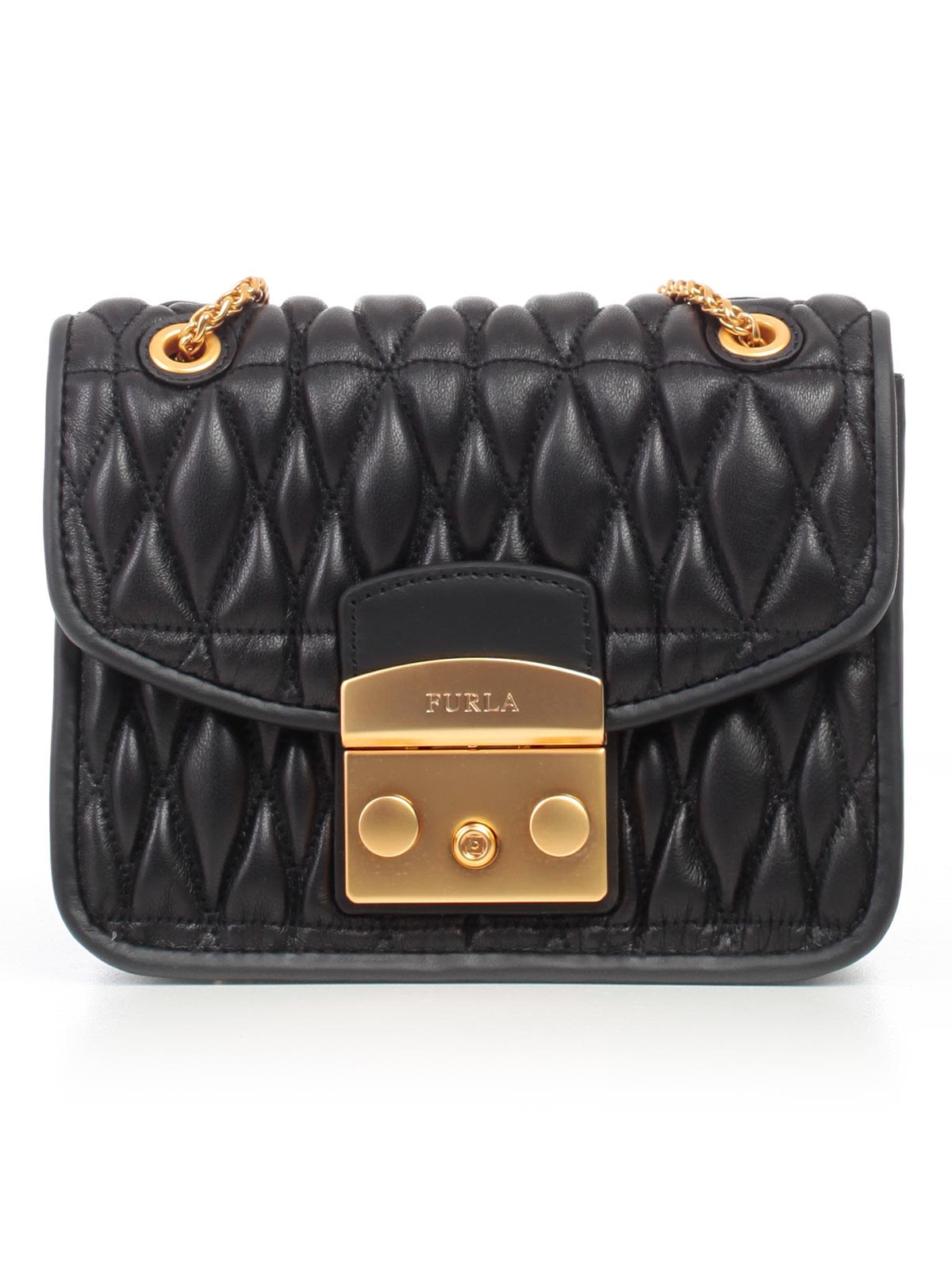 Mini Cometa Quilted Shoulder Bag in Onyx