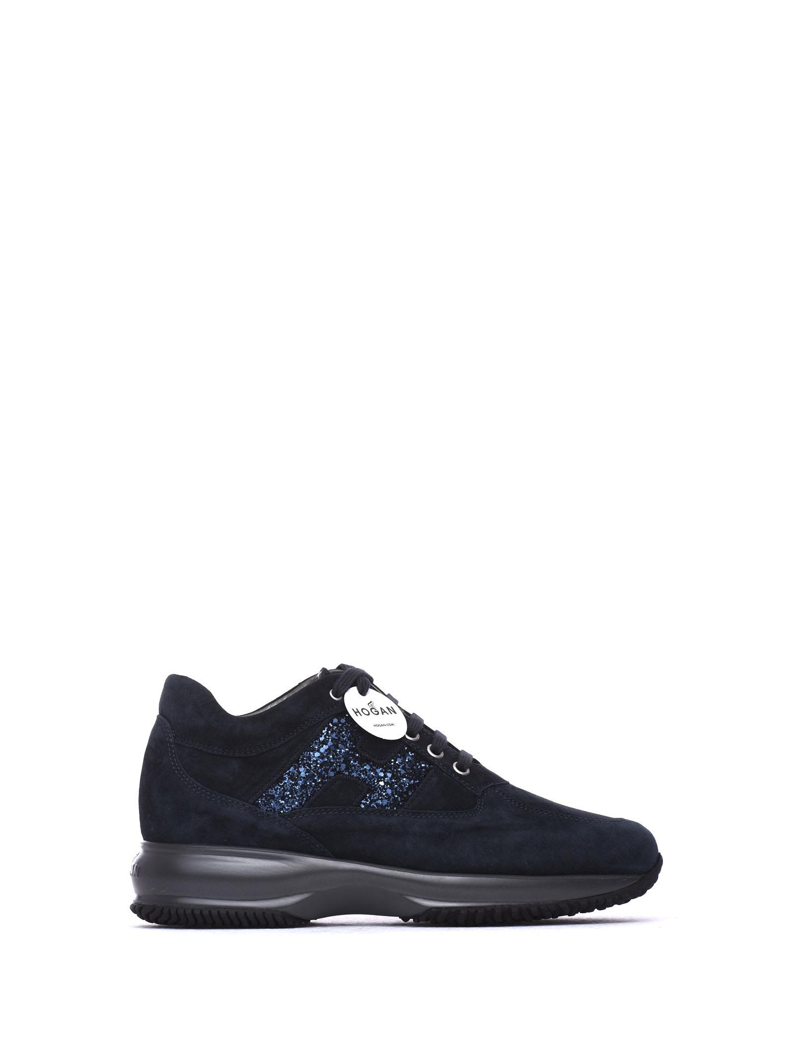 Hogan Sneakers Interactive Dark Blue And Glitter