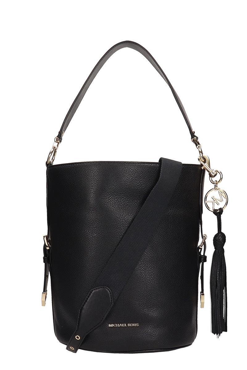 Michael Kors Black Leather Md Bucket Messenger Bag