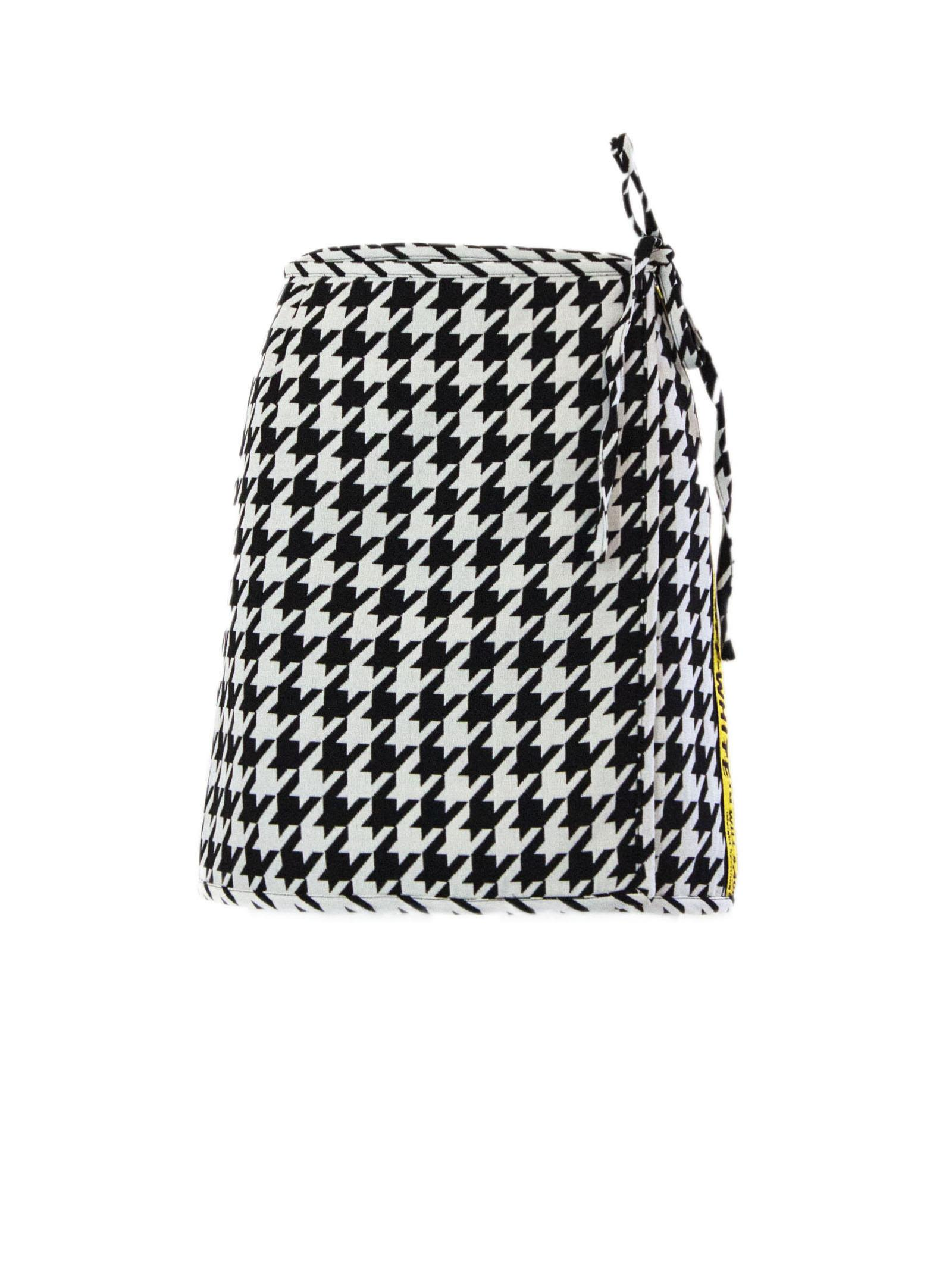 Off-White Checked Mini Skirt In Black And White Virgin Wool.
