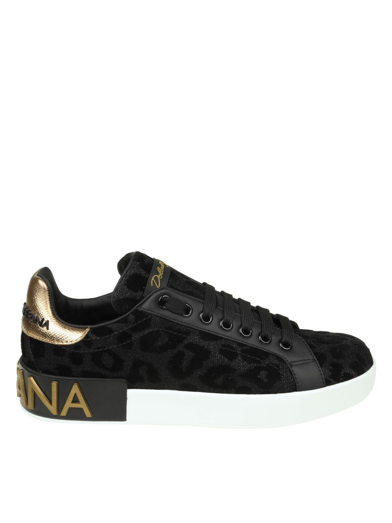 Dolce & Gabbana Portofino Sneakers In Fabric Lurex Effect Black With Velvet Print