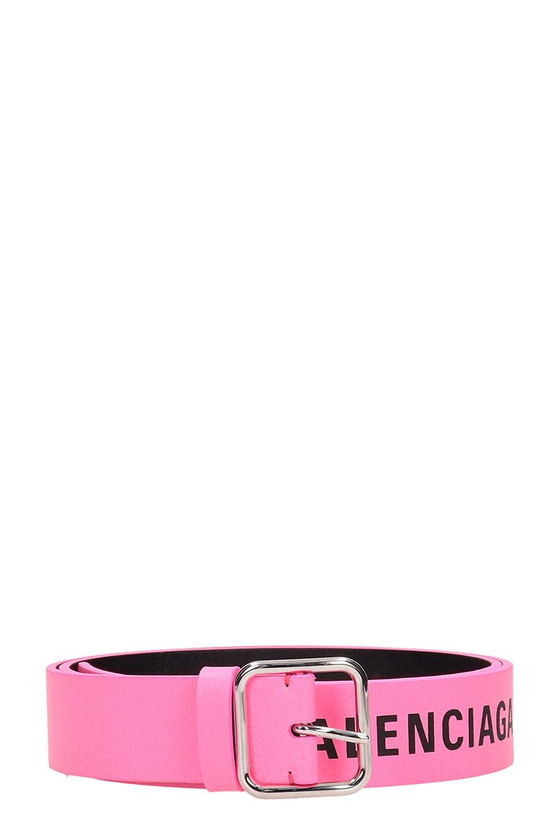 Balenciaga Pink Leather Belt In Rose-Pink