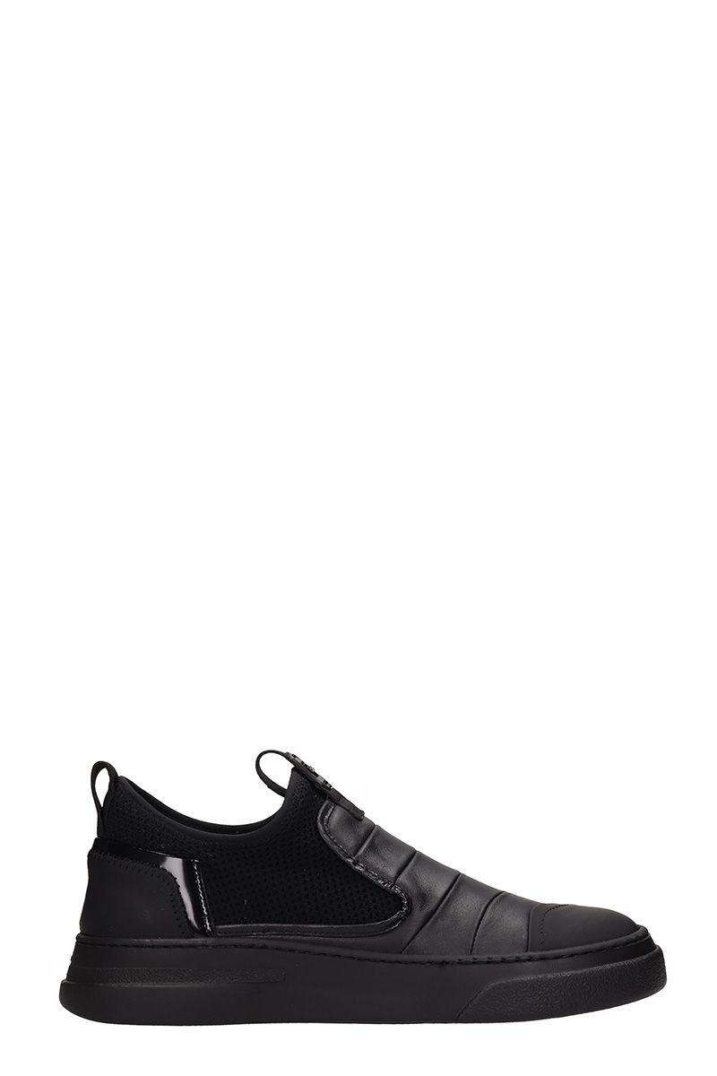 Bruno Bordese Byke Slip On Black Leather Sneakers