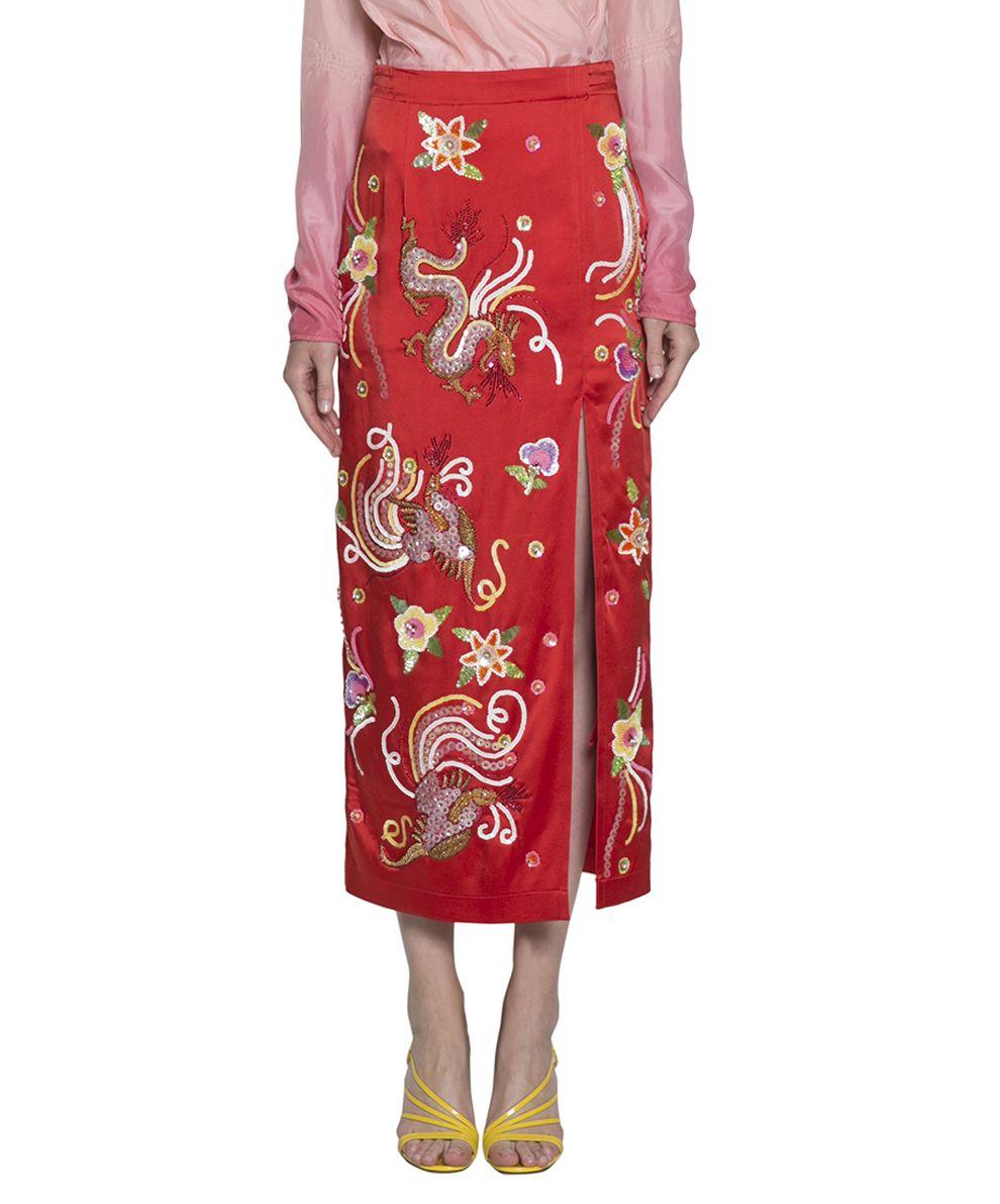 ATTICO Envers Satin Embroidered Skirt