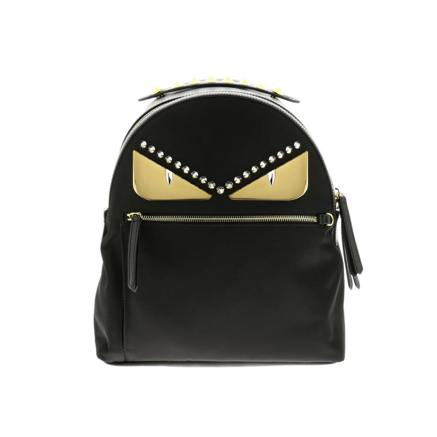 Fendi Backpack Fendi Monster Eyes Nylon And Leather Backpack With Bag Bugs Eyes Metal Patch
