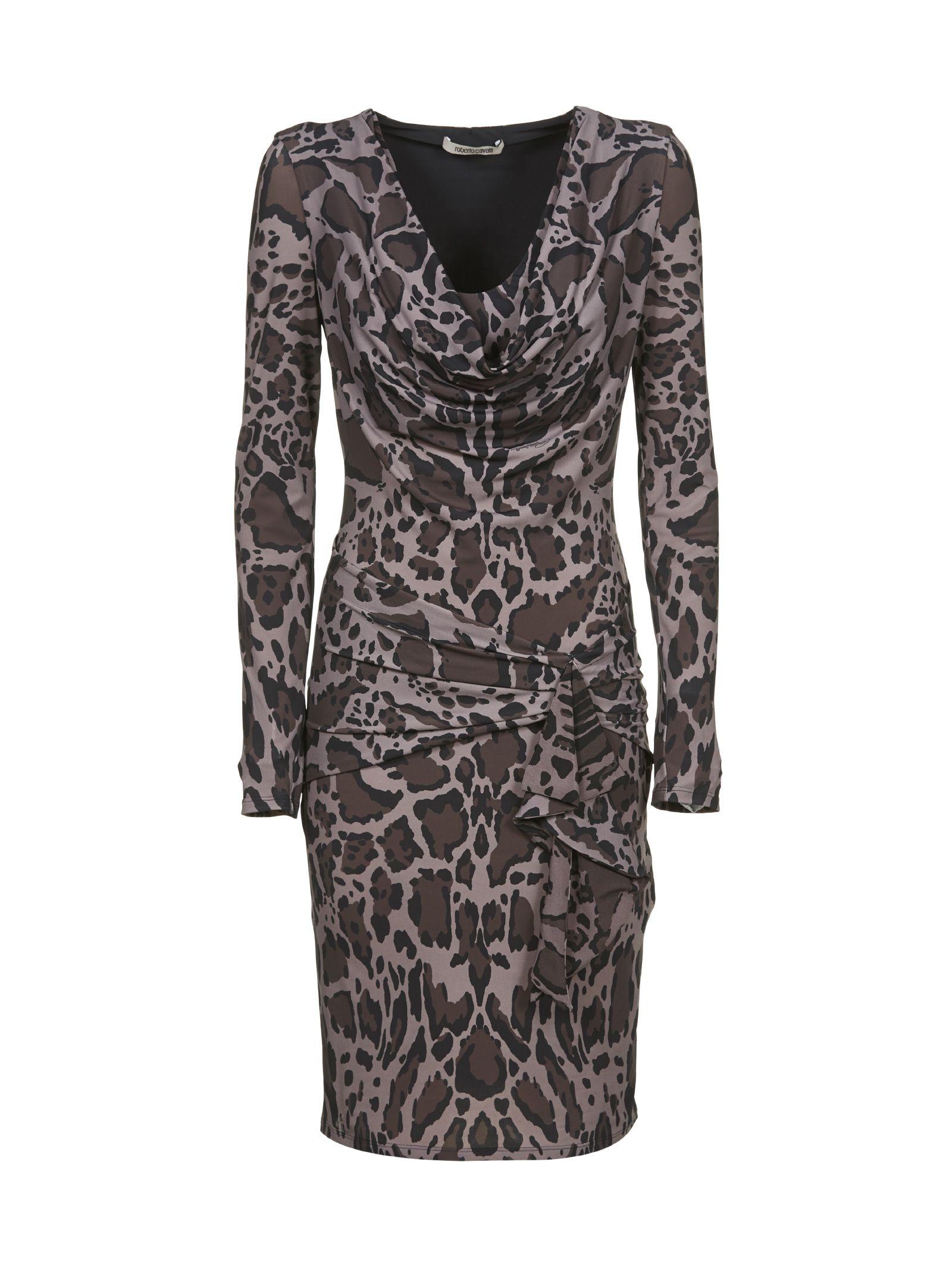 Roberto Cavalli Ruched Leopard Dress