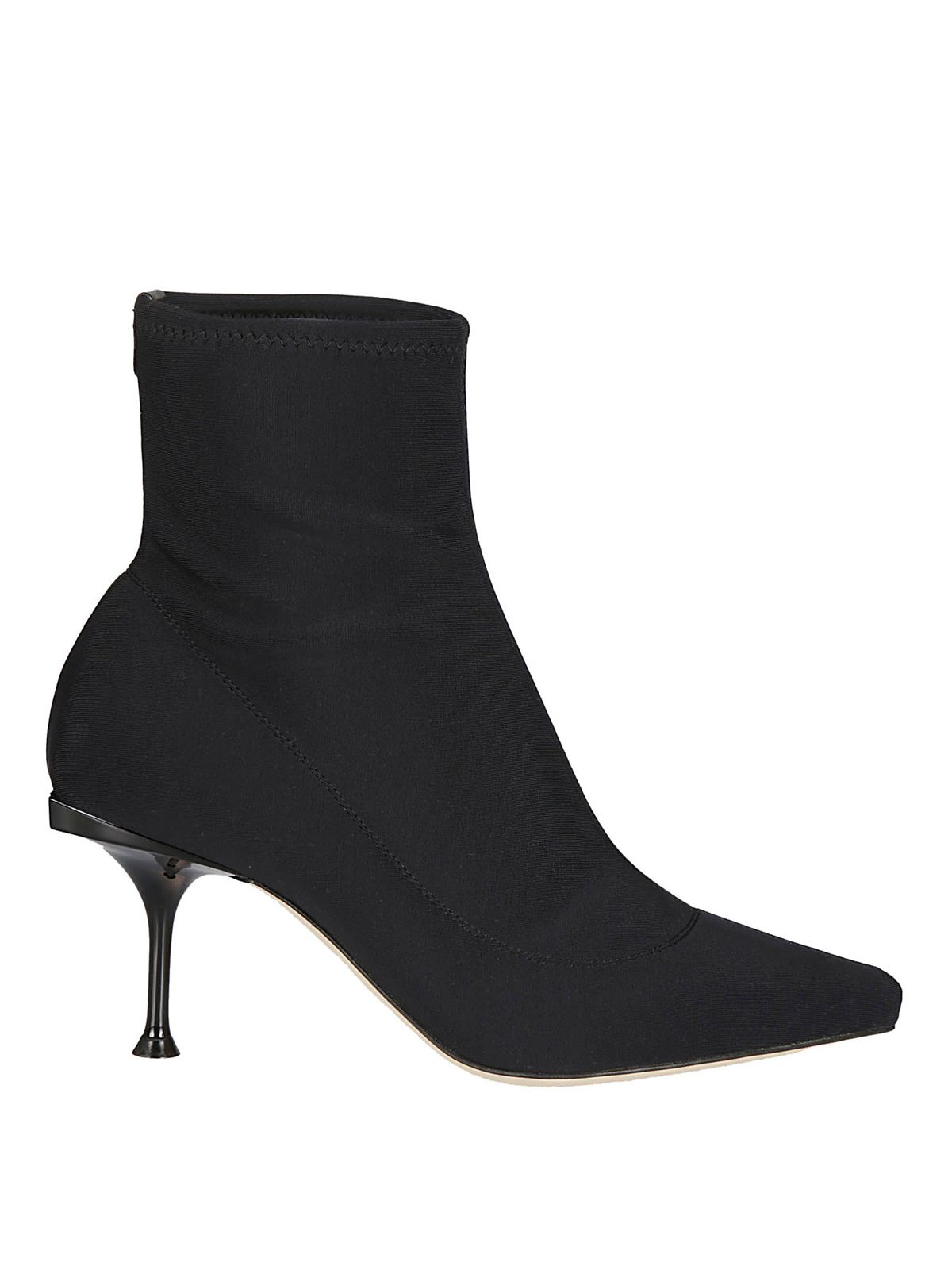 Sergio Rossi Pointy Toe Neoprene Effect Ankle Boots