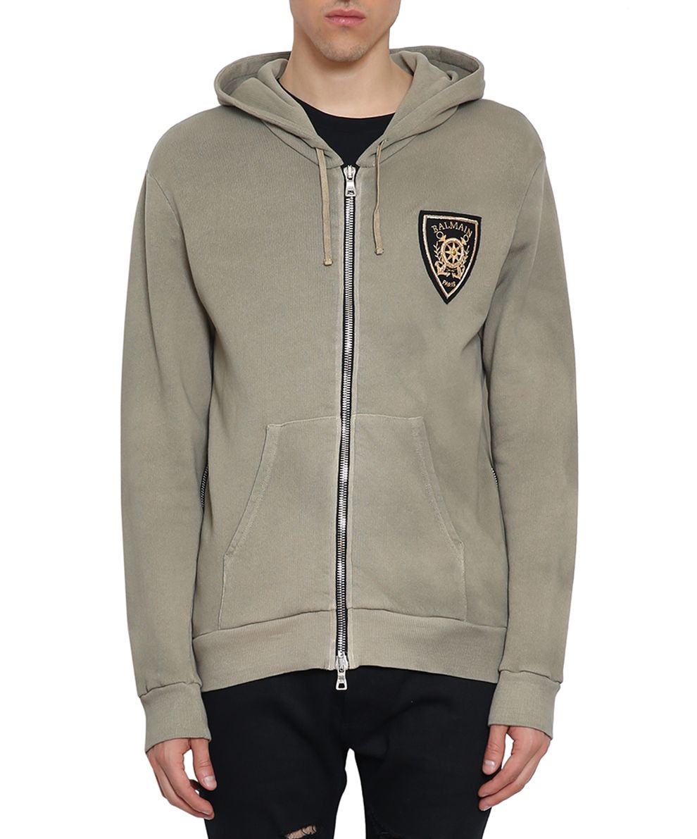 Balmain Embroidered Cotton Hoodie