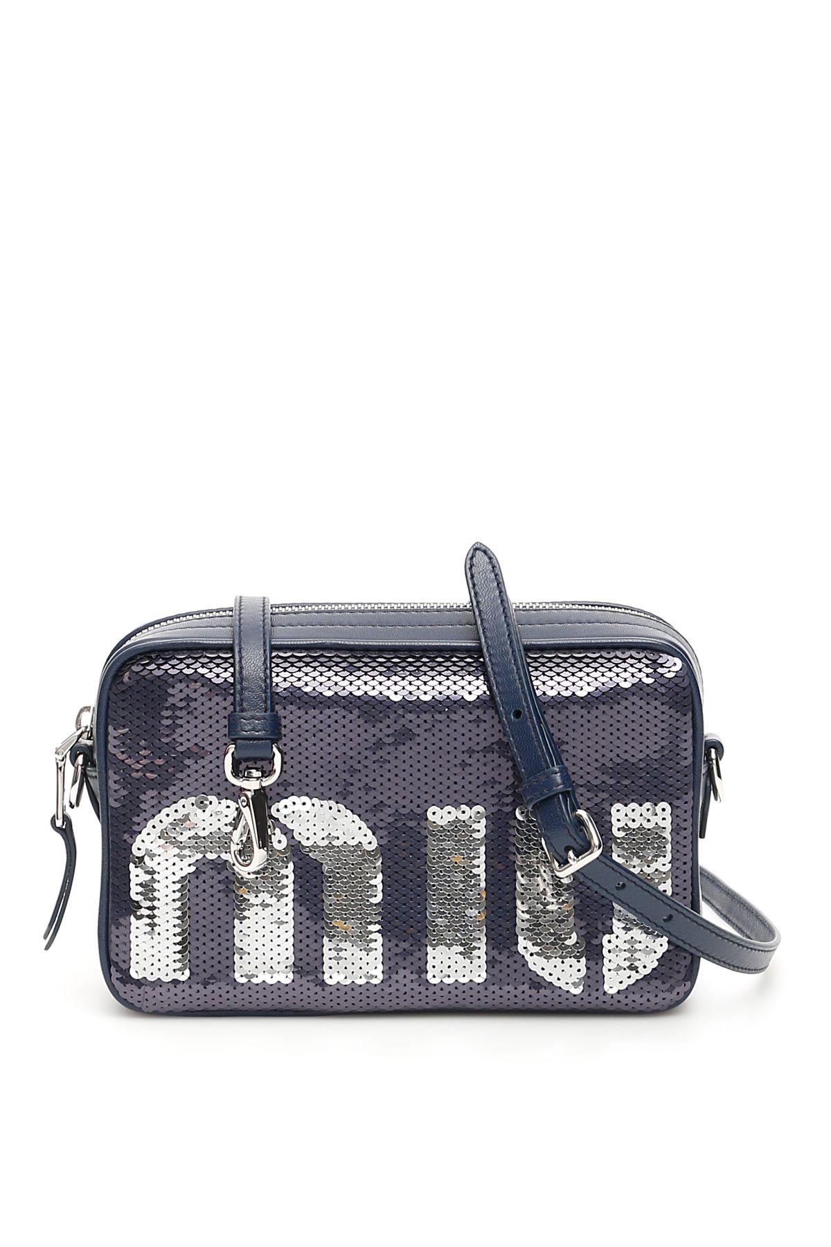 Miu Miu Miu Sequins Bag In Blu Argento Blu   ModeSens a5235008c6