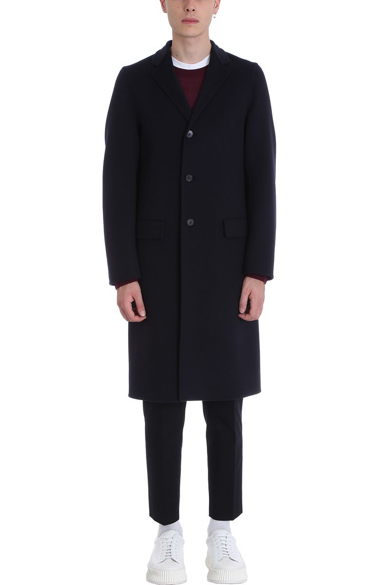 Jil Sander Blue Wool Coat