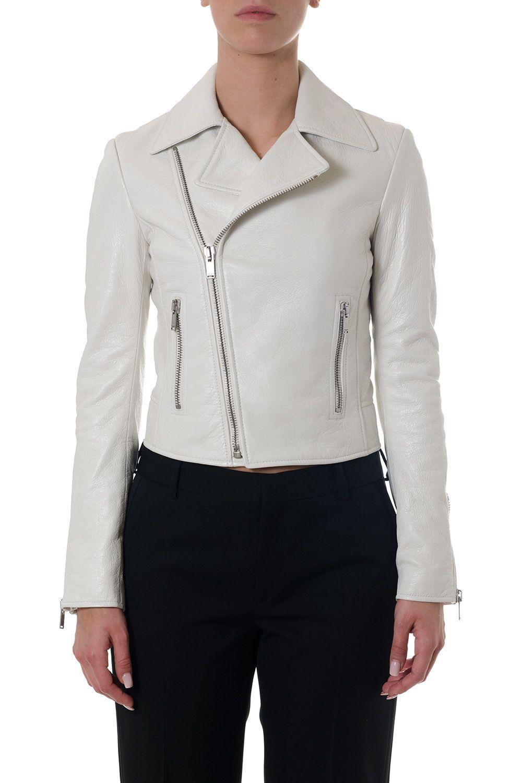 Saint Laurent Chalk Color Leather Biker Jacket