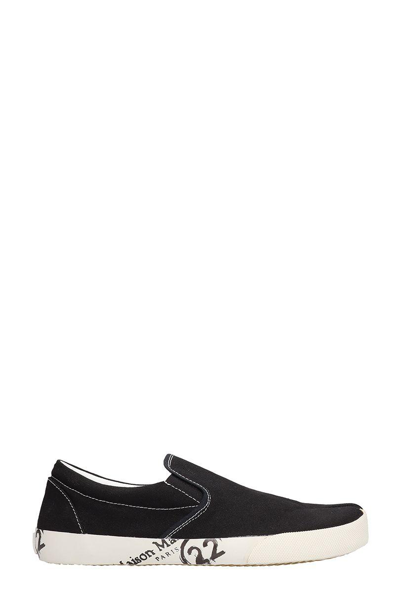 Maison Margiela Slip On Black Cotton Sneakers