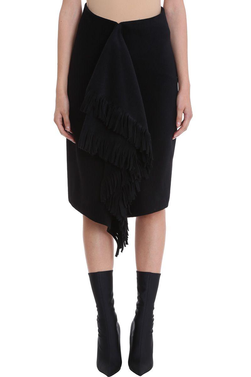 Balenciaga Black Alpaca Fringes Skirt