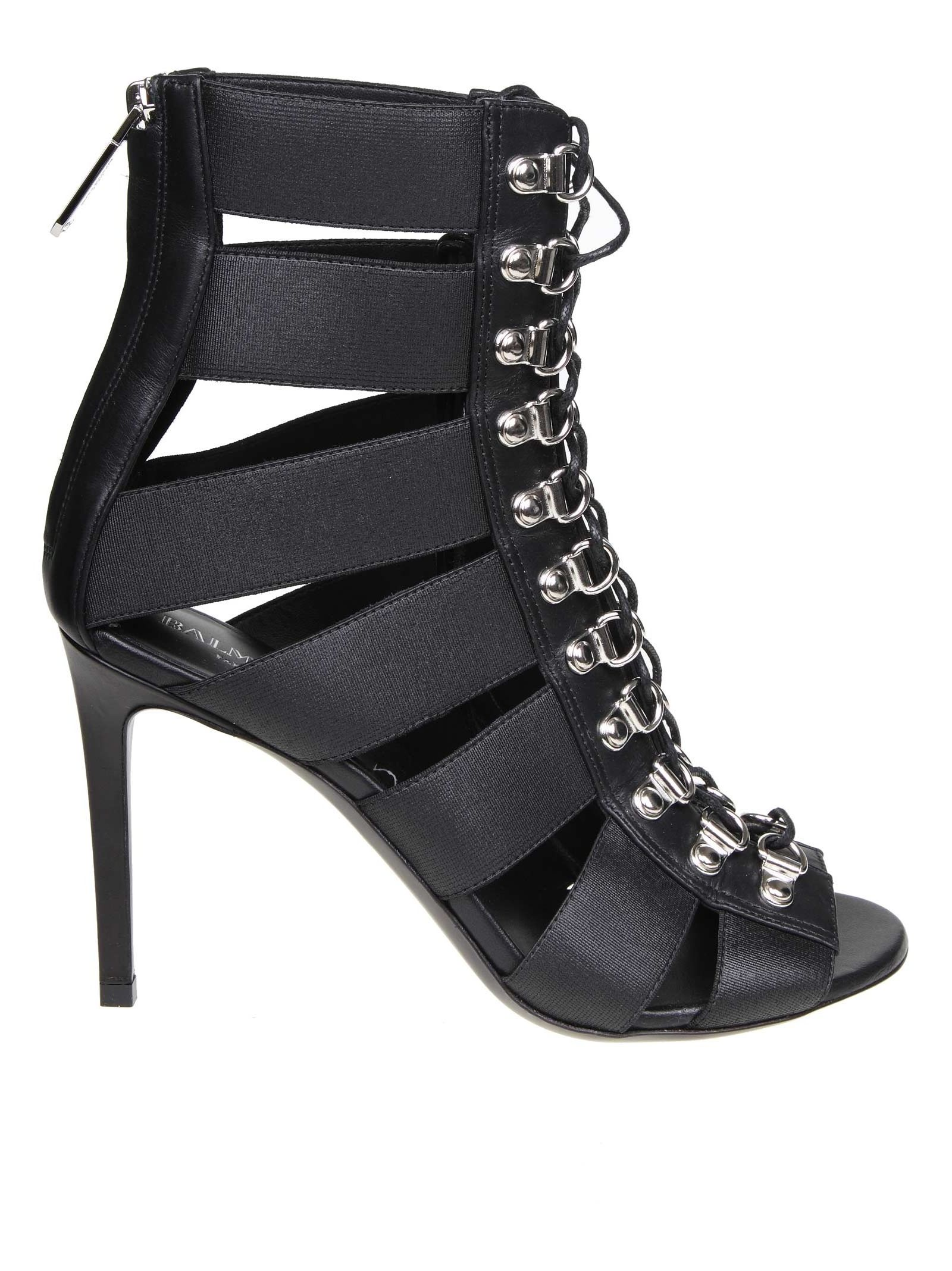 Balmain Sandal Lindsay In Stretch Fabric Color Black