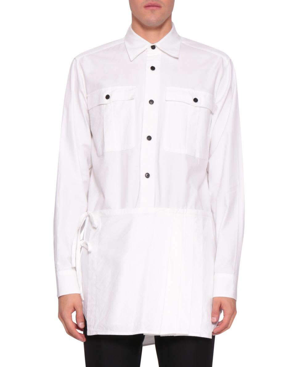 Dries Van Noten White Cotton Pleated Panel Shirt