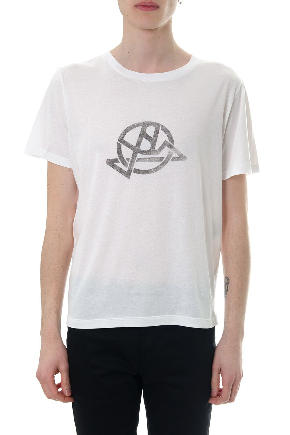 Saint Laurent White Cotton T-shirt With Graphic