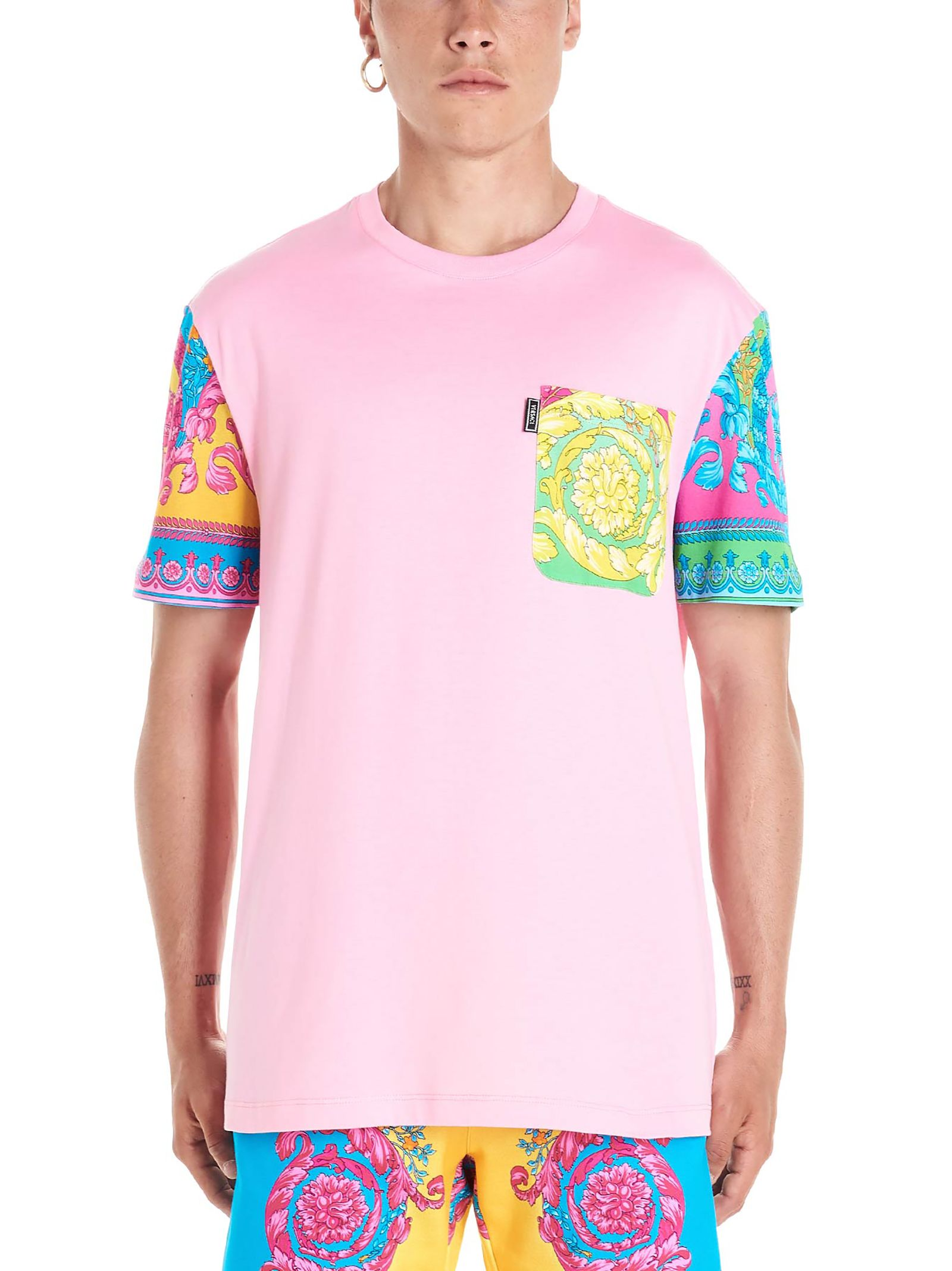 8608c2aa90 Fluo Barocco Print Patch T-Shirt in Pink