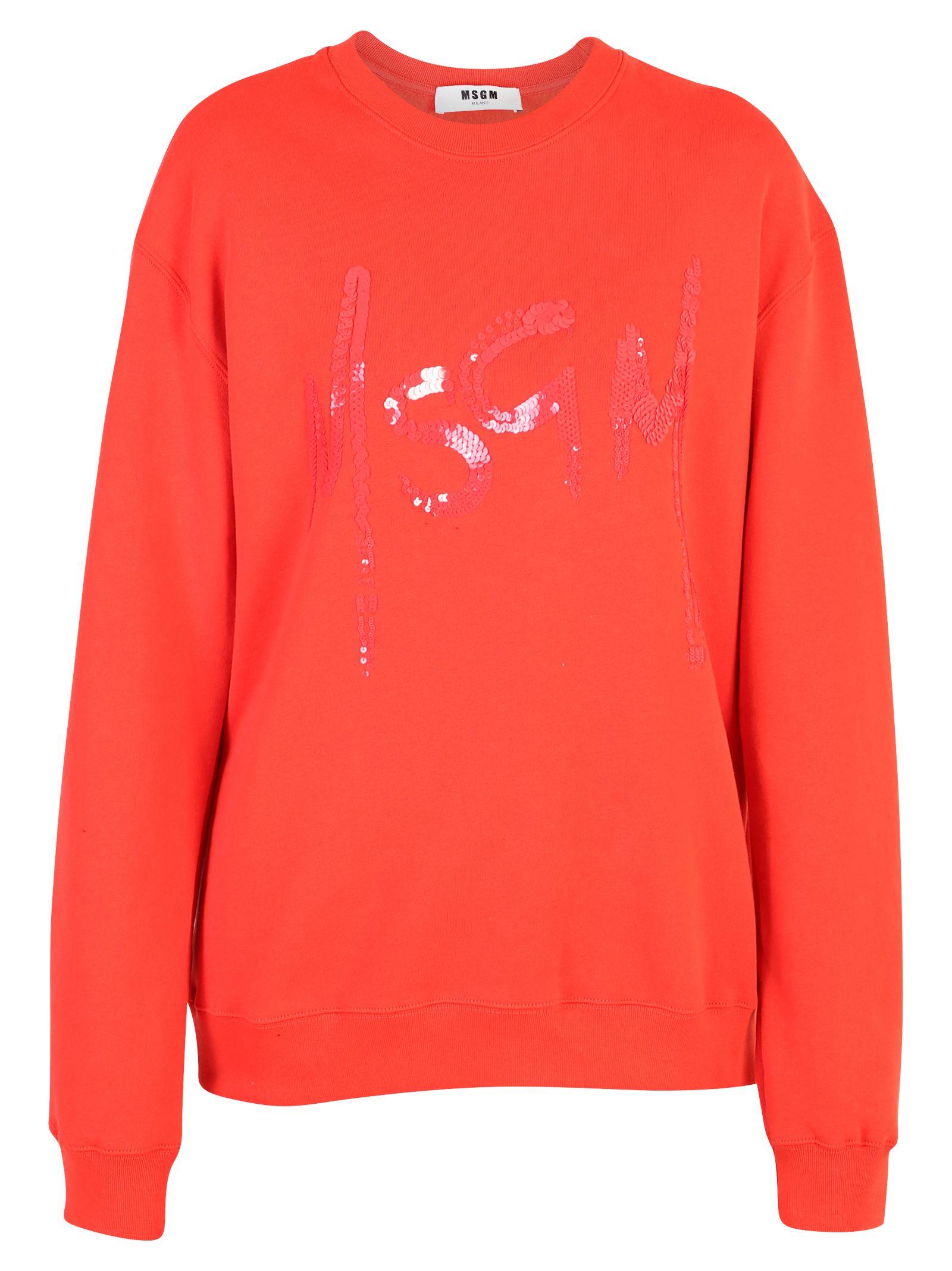 MSGM Orange Shiny Detailed Sweatshirt
