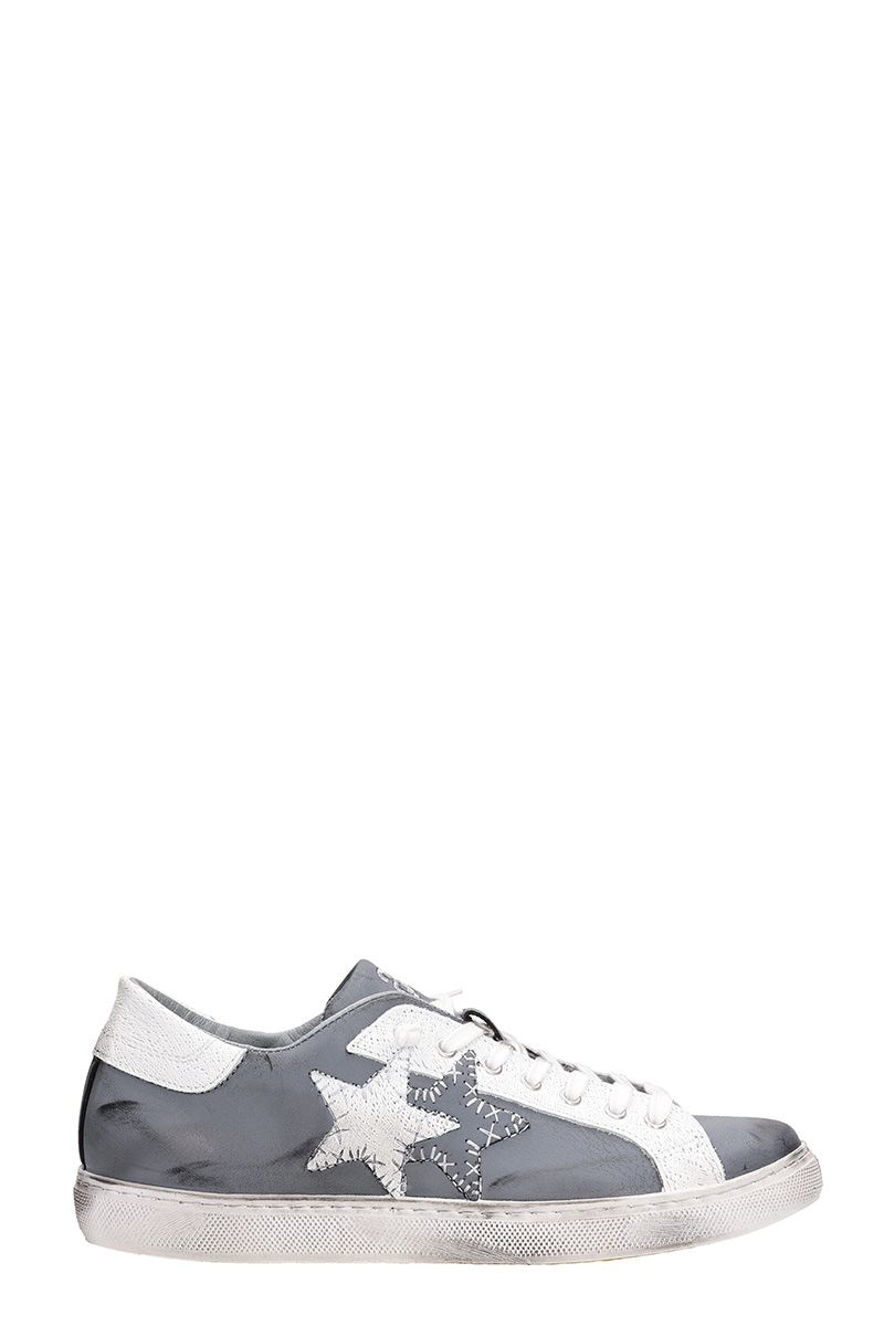 2Star Grey Leather Destroyed Effect Sneakers