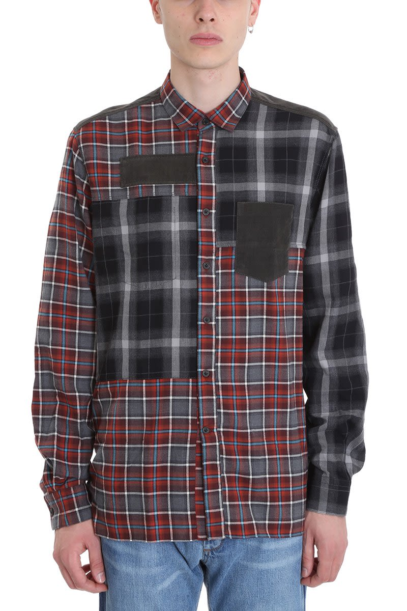 Lanvin Red/multicolor Cotton And Velour Shirt