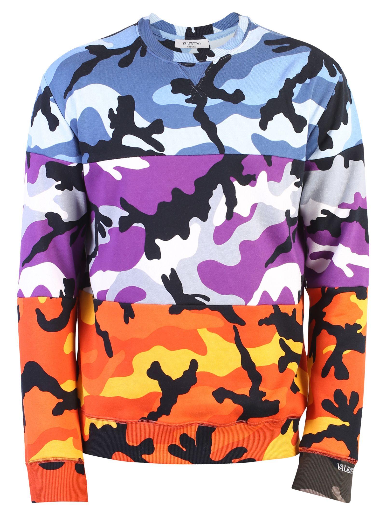 Valentino Cotton Blend Camouflage Sweatshirt