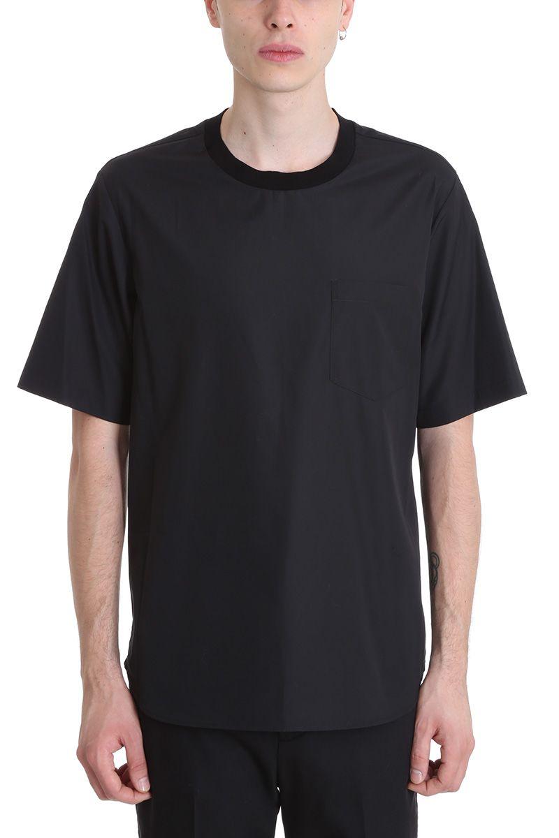 3.1 Phillip Lim Black Popeline Cotton T-shirt