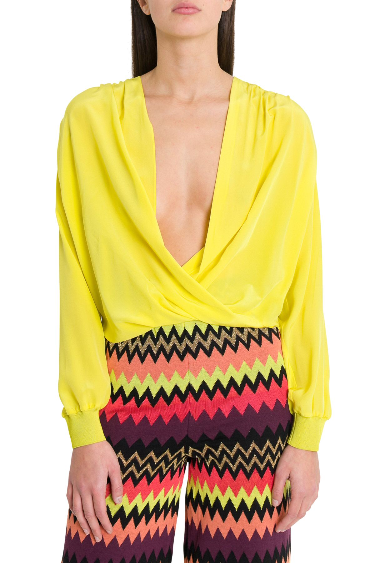 M Missoni Deep V Neck Blouse