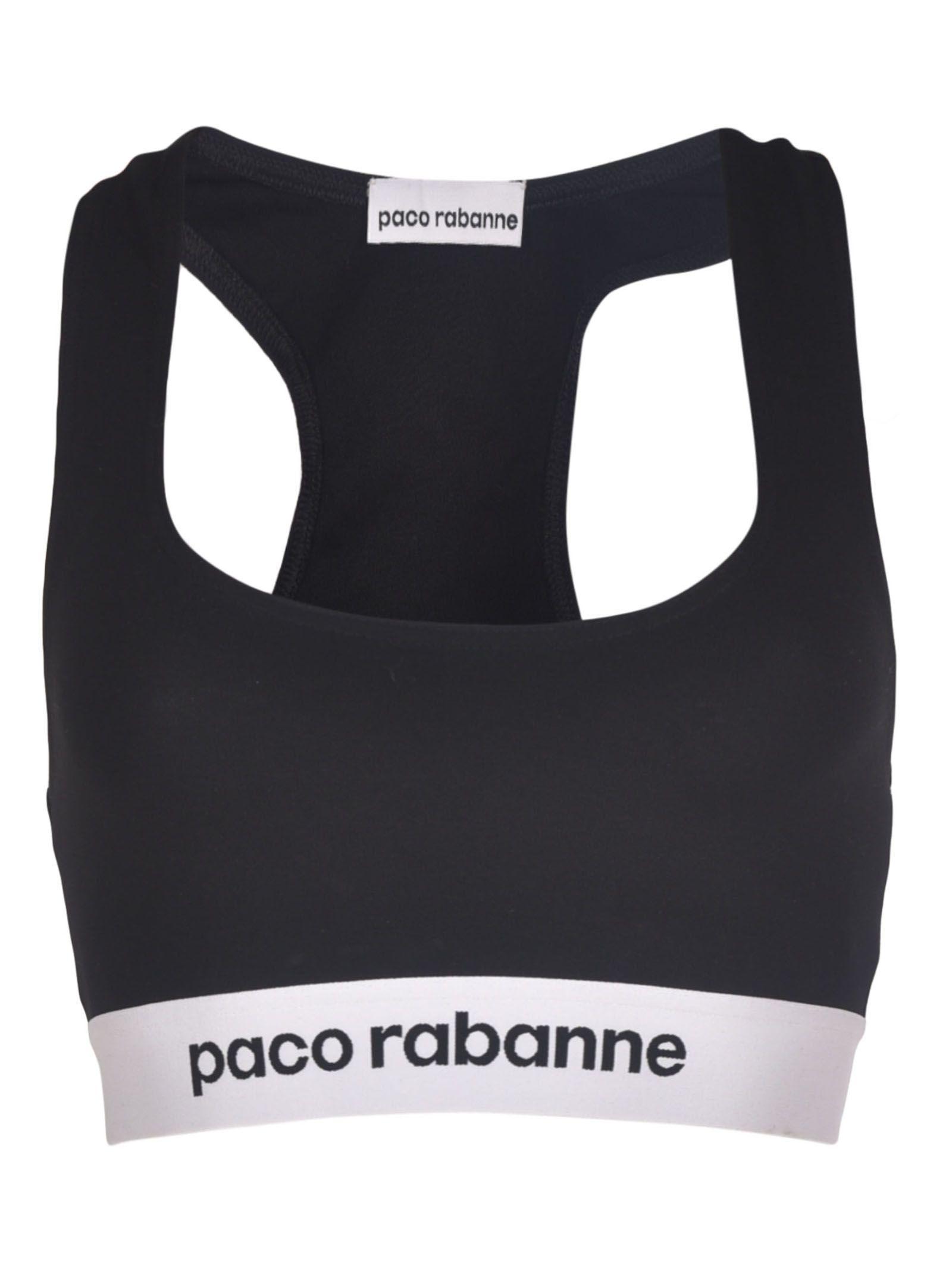 Paco Rabanne Logo Cropped Sports Bra