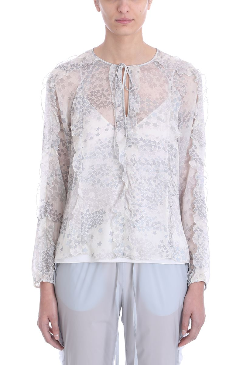 RED Valentino Cascading Stars Printed Silk Chiffon Blouse