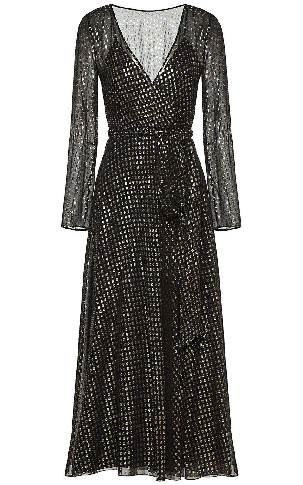 RED Valentino Metallic Fil Coupé Silk-blend Chiffon Wrap-effect Maxi Dress