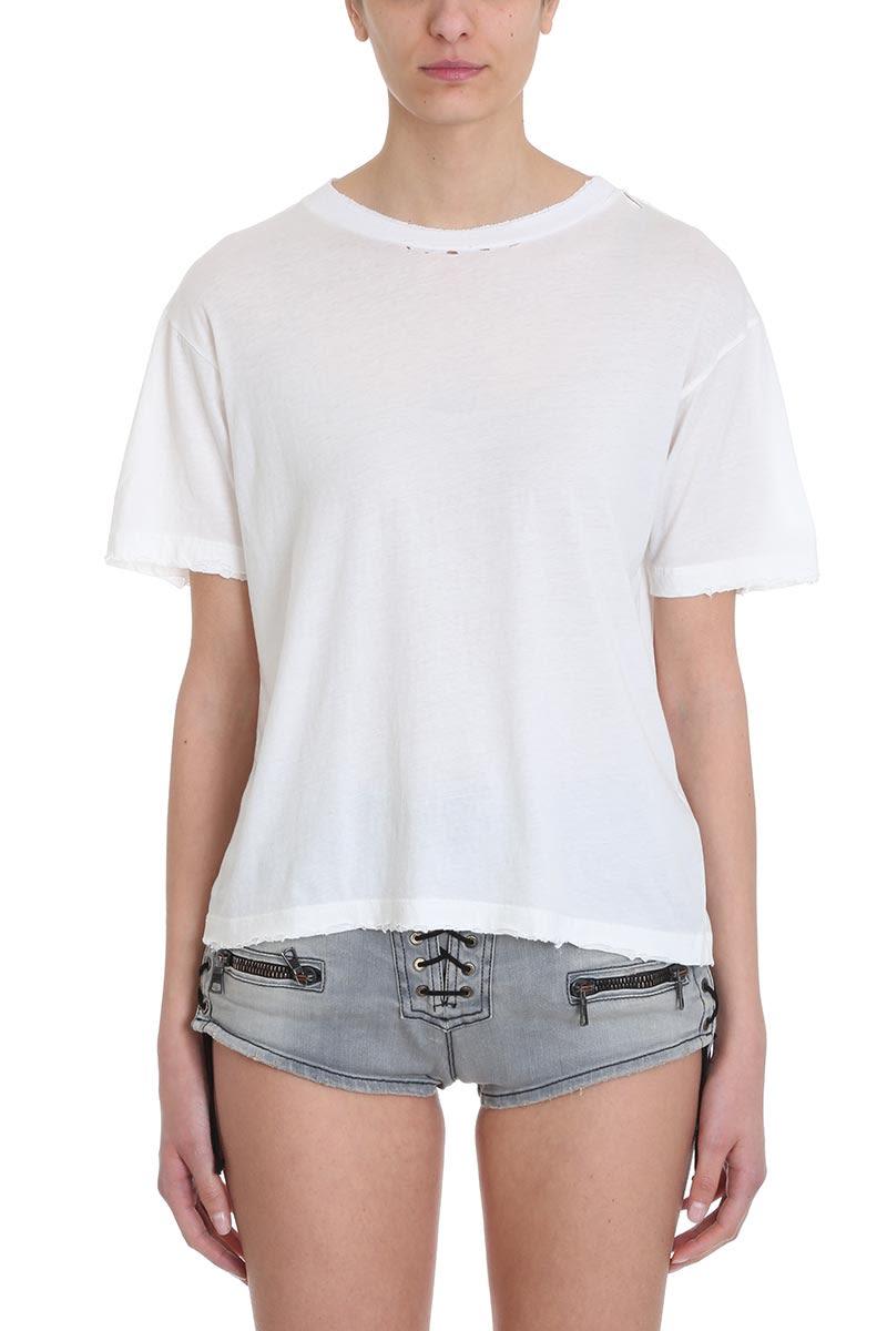 Ben Taverniti Unravel Project Distressed Skate White Jersey Fucsia T-shirt