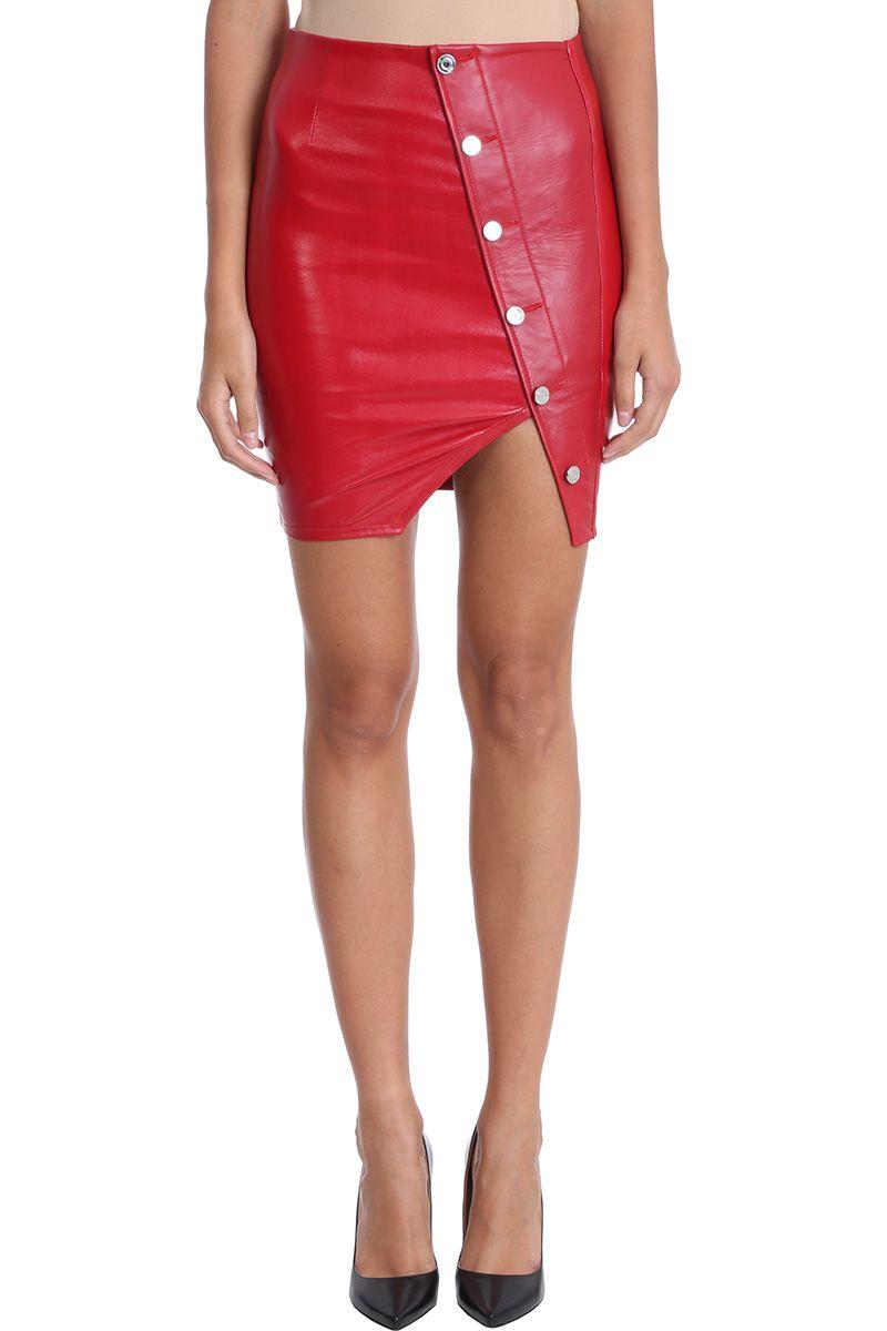 rta -  Red Lamb Leather Skirt