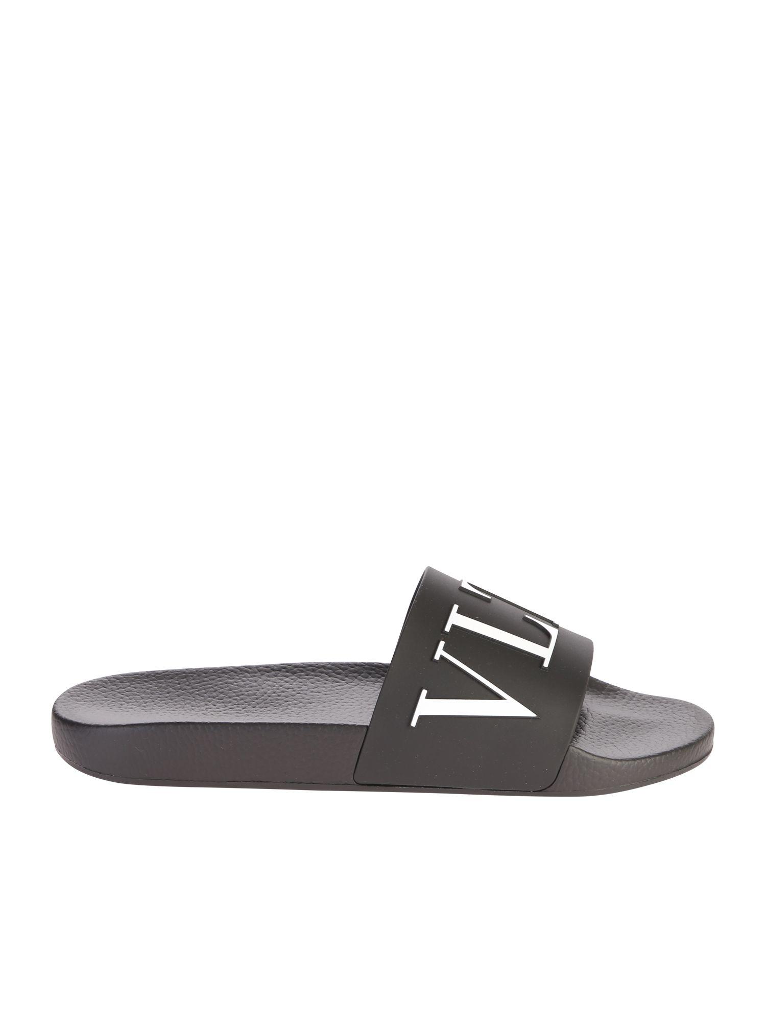 valentino garavani -  Black Branded Slide Sandals