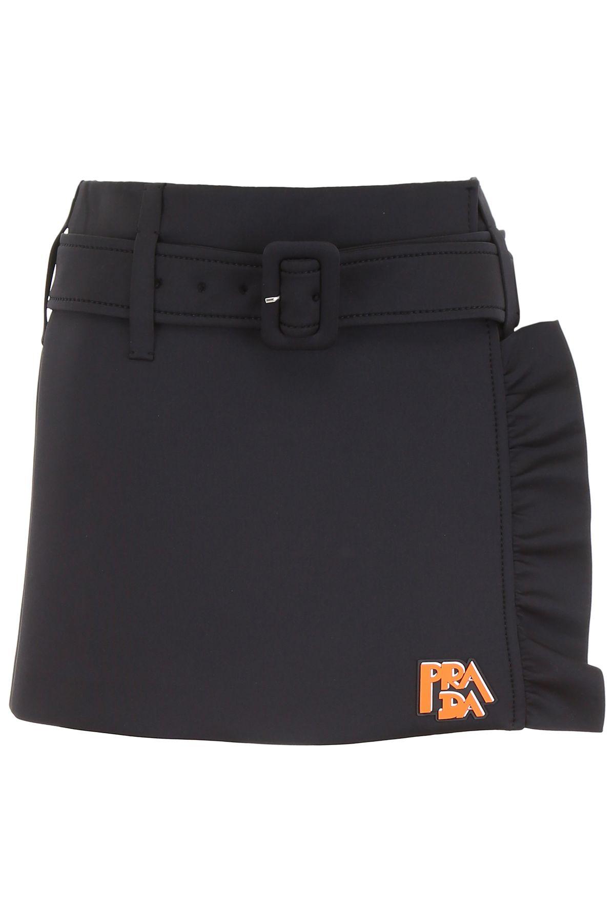 Prada Ruffled Mini Skirt With Logo