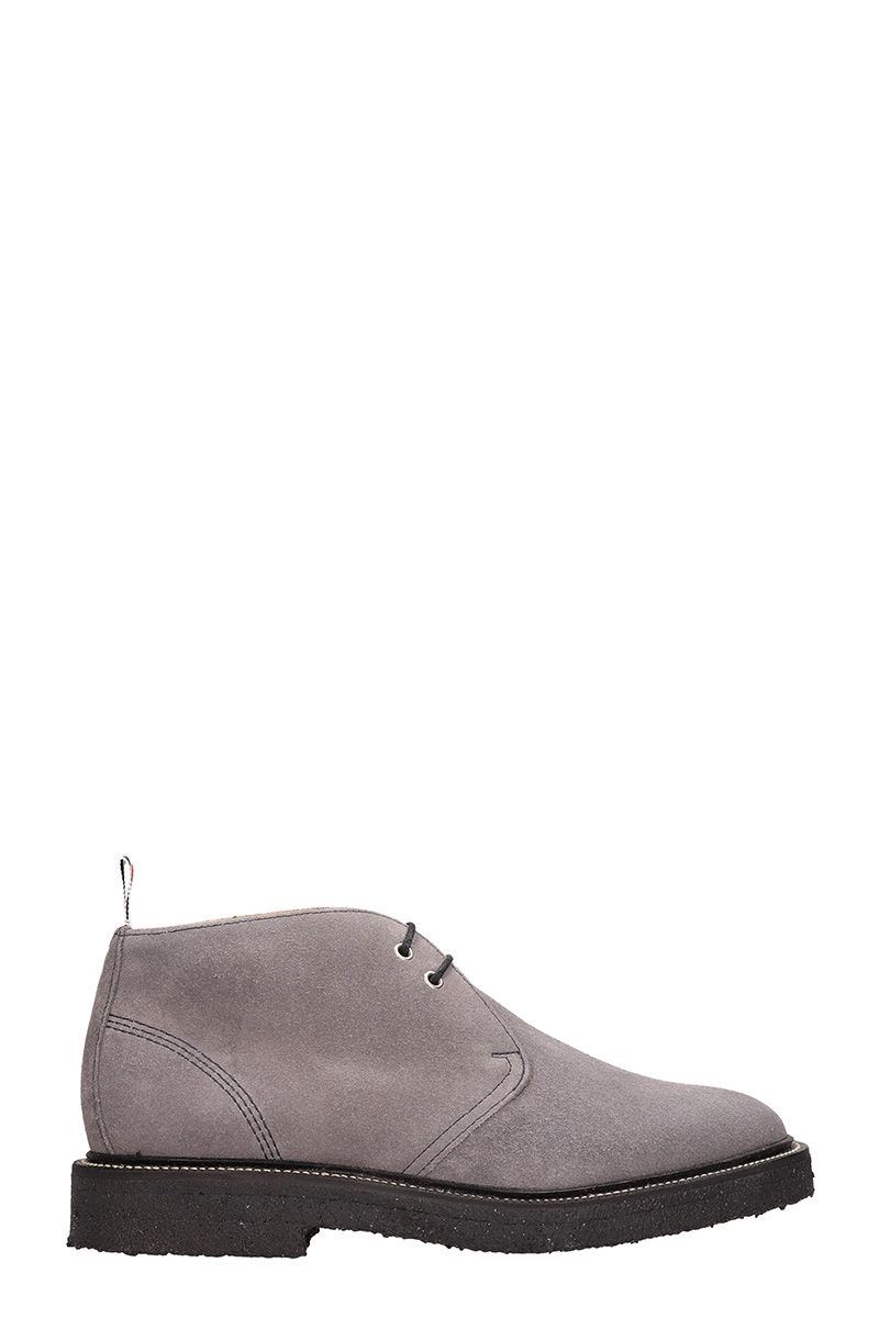 Thom Browne Chukka Grey Suede Laces-up