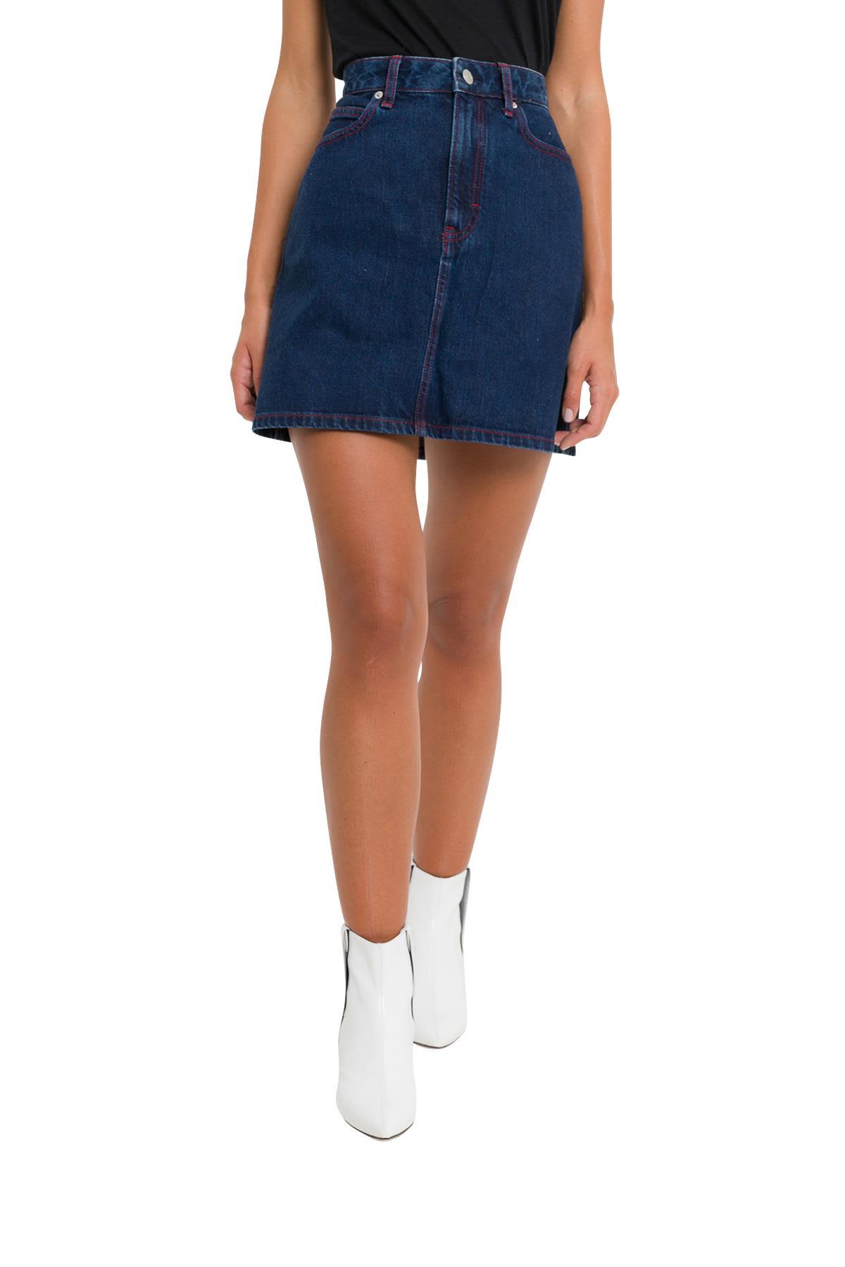 Calvin Klein Jeans Contrasting Color Stitch Denim Miniskirt