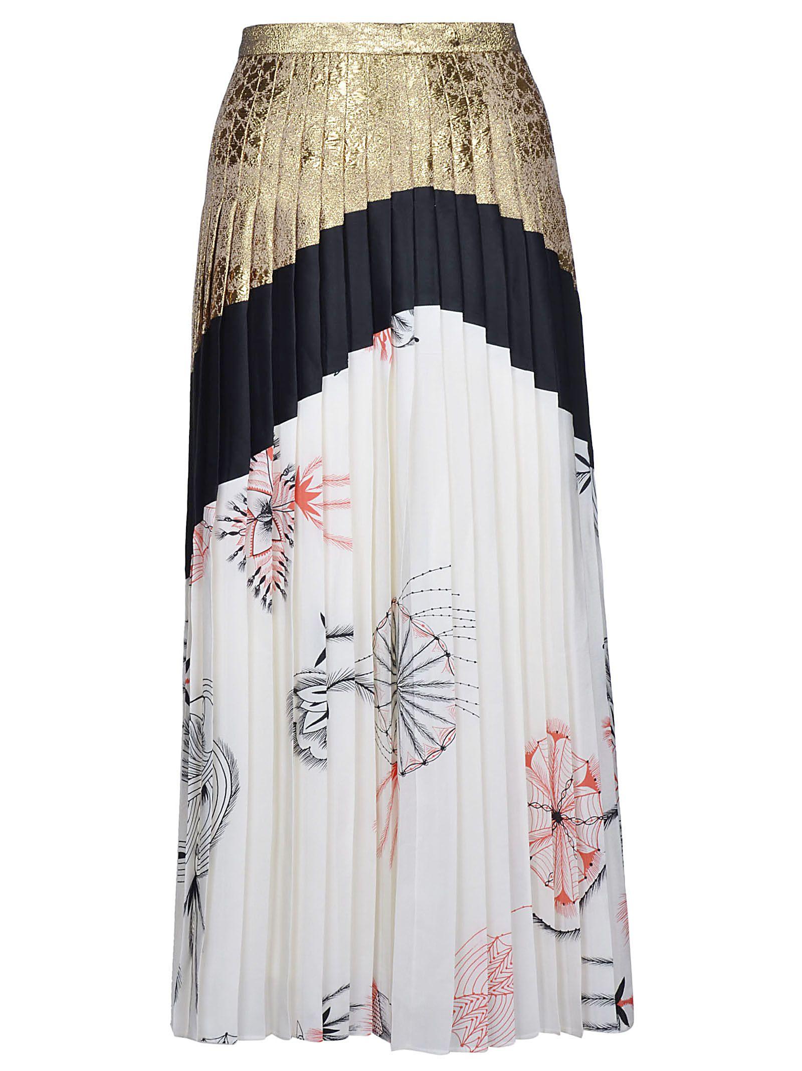 Dries Van Noten Tri-color Pleated Long Skirt