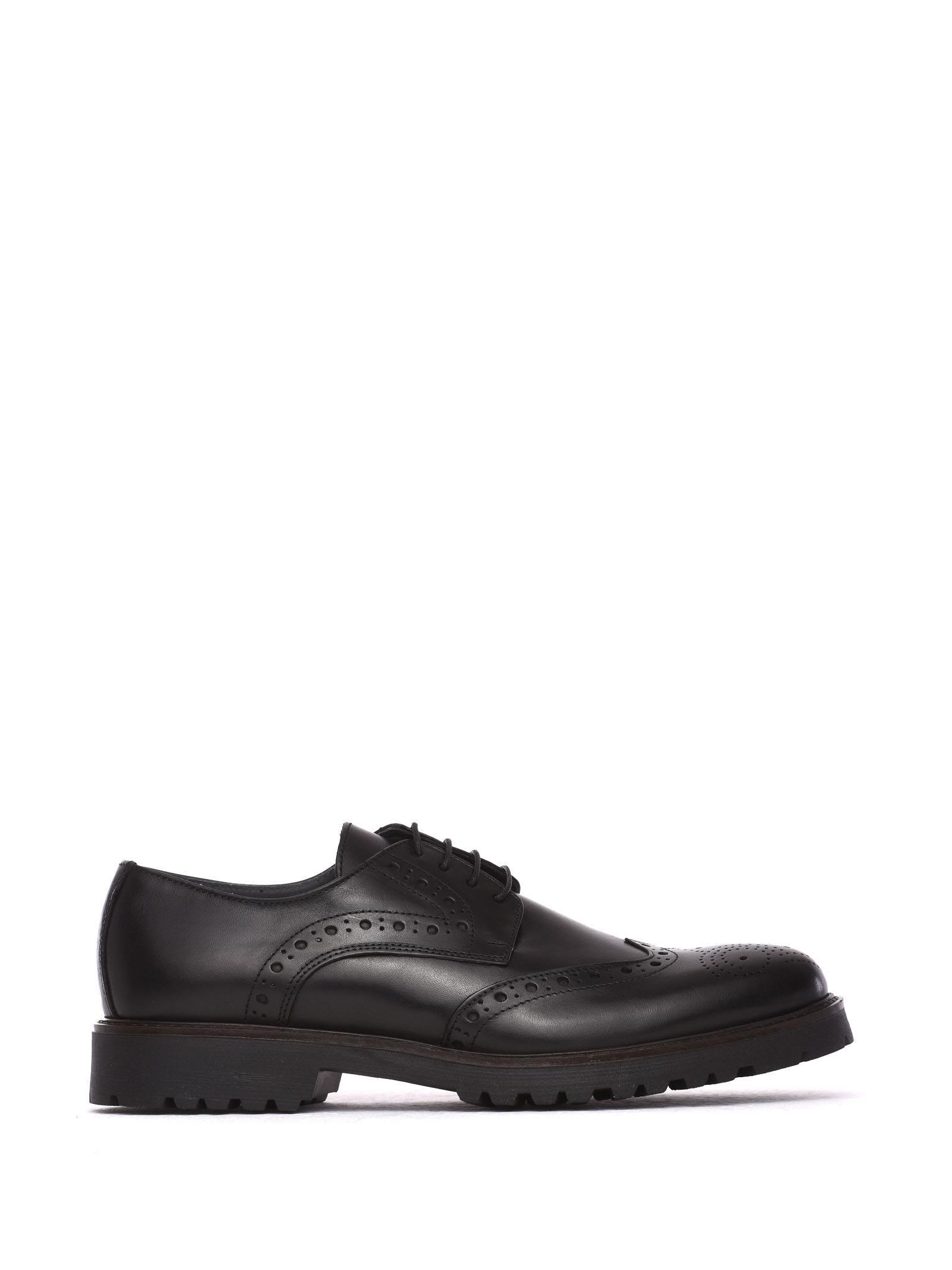 Pollini Duilio Black Leather Lace-up Shoes