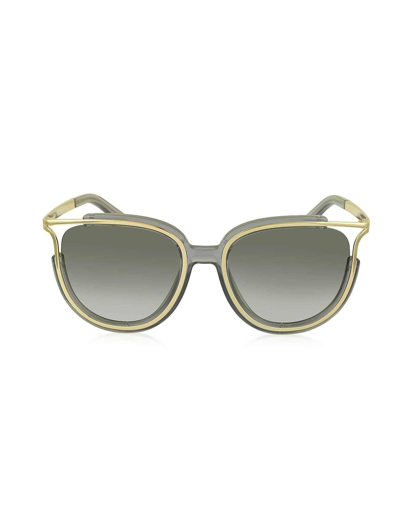 Chloe Jayme Ce 688s 036 Gray Acetate And Silver Metal Square Women's Sunglasses
