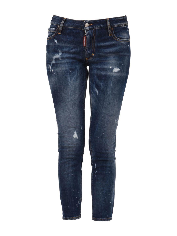 Dsquared2 Blue Slim-fit Cropped Jean