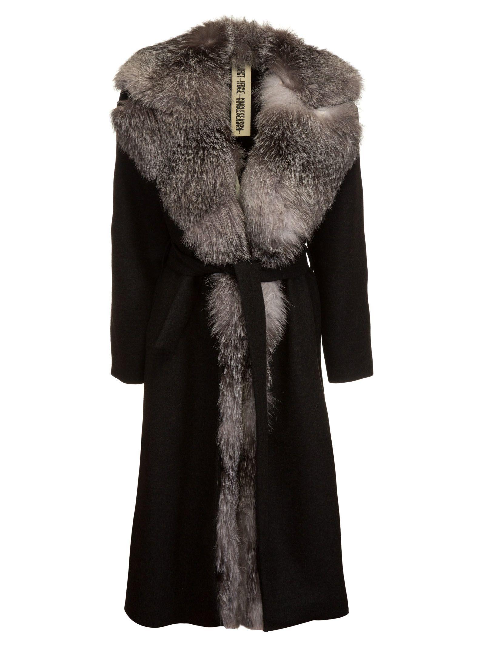 Project [Foce] Belted Waist Fox-Furred Coat
