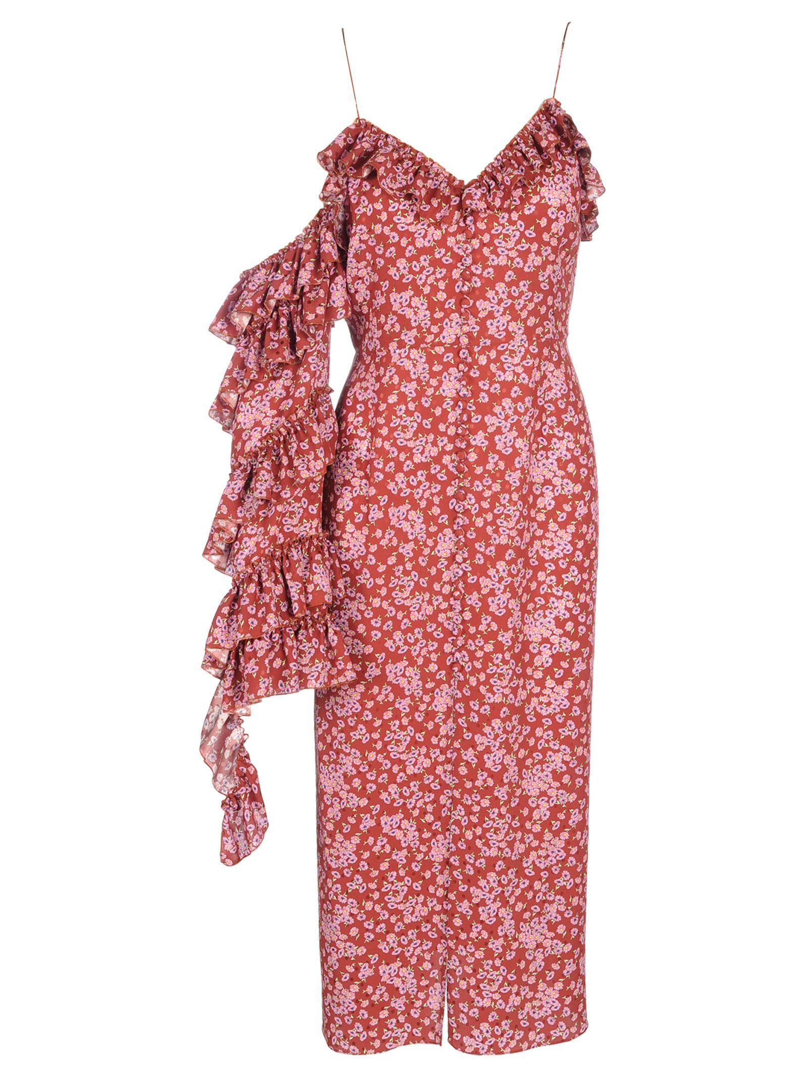 Magda Butrym Pozallo Bordeaux Dress Flower Print