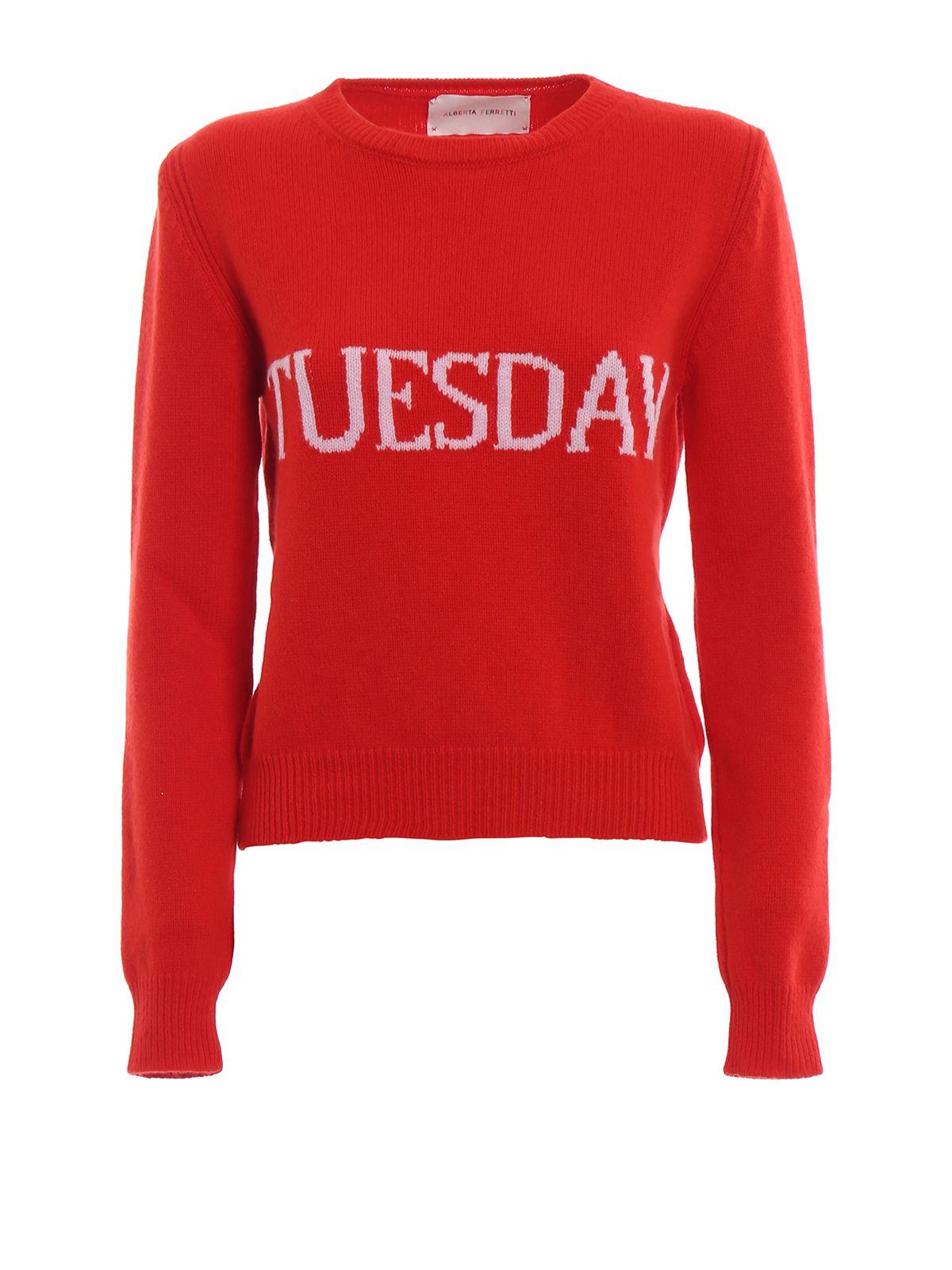 Alberta Ferretti Tuesday Red Knitted Crewneck