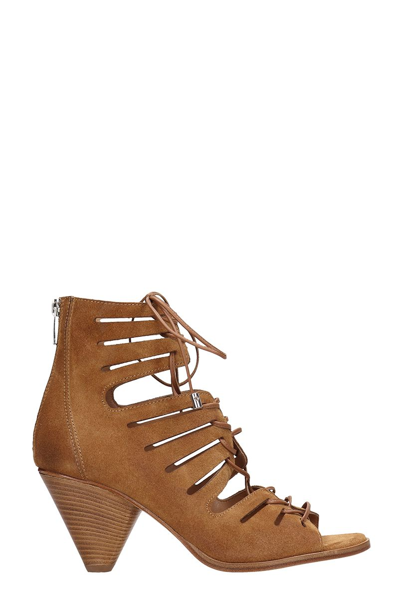 Janet & Janet Open Toe Brown Suede Leather Ankle Boots